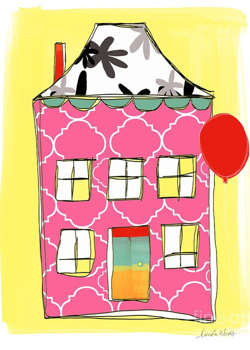 House Greeting Card featuring the painting Pink House by Linda Woods