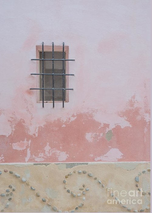 Architectural Greeting Card featuring the photograph Pink House With Black Iron by Ingela Christina Rahm