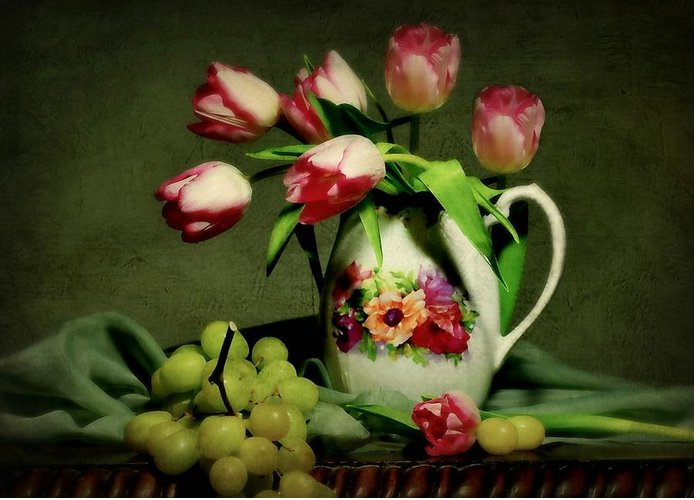 Still Life Greeting Card featuring the photograph Pink In A Pitcher by Diana Angstadt