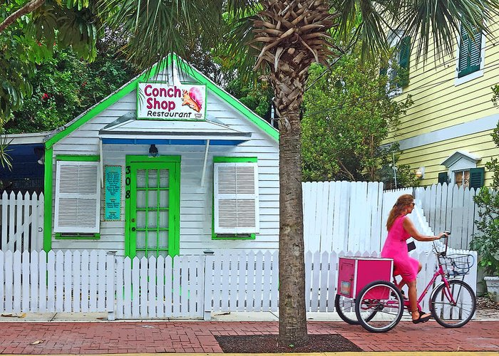 Key West Conch Shop Greeting Card featuring the photograph Pink Lady And The Conch Shop by Rebecca Korpita