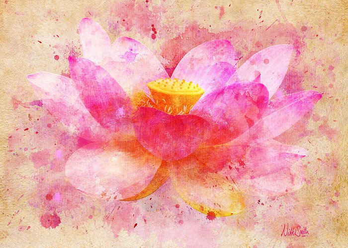 Pink lotus flower abstract artwork greeting card for sale by nikki lotus greeting card featuring the digital art pink lotus flower abstract artwork by nikki marie smith mightylinksfo