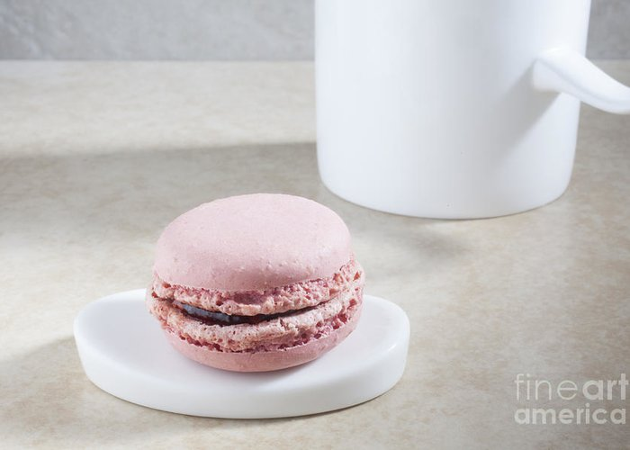 A Pink Macaroon On A Tiny Plate Greeting Card featuring the photograph Pink Macaroon by Liz Leyden