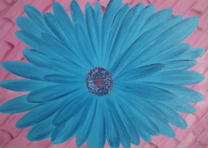 Floral Greeting Card featuring the painting Pink N Blue by Pallavi Talra