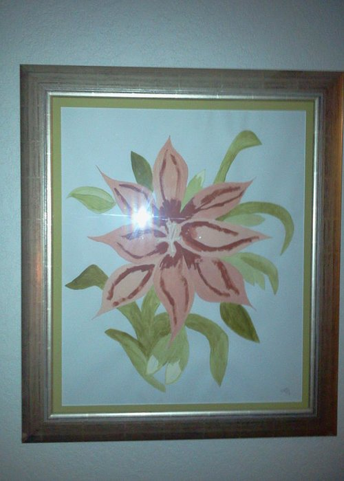 Flower Greeting Card featuring the painting Pink Orchid by Karen Jensen