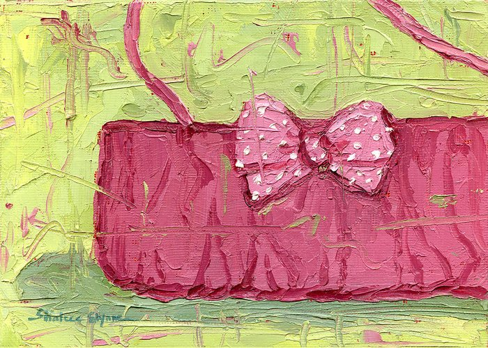 Pink Purse Party Greeting Card featuring the painting Pink Purse Party by Shalece Elynne
