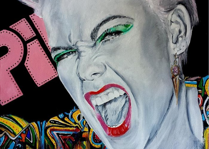 Music Pink Pop Rock Beauty Oils Portrait Rock Roll Singer Pink Greeting Card featuring the painting Pink Returns by S G Williams