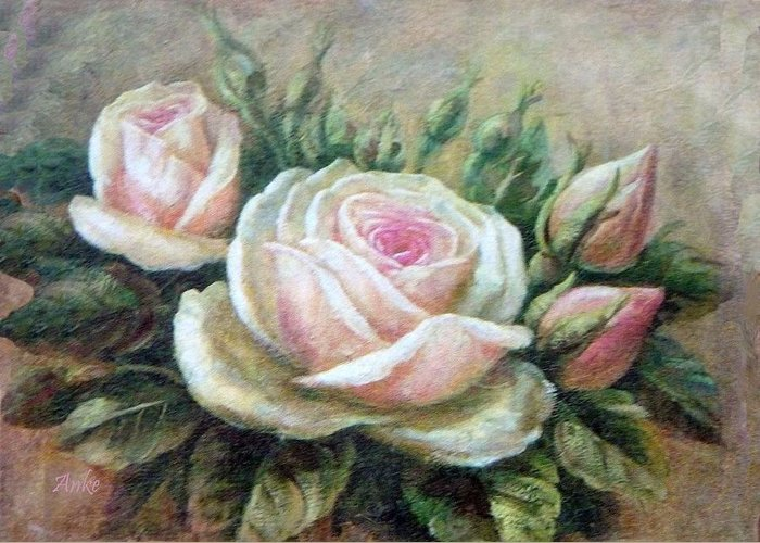 Anke Wheeler Rose Still Life Greeting Card featuring the painting Pink Rose And Rose Buds II by Anke Wheeler