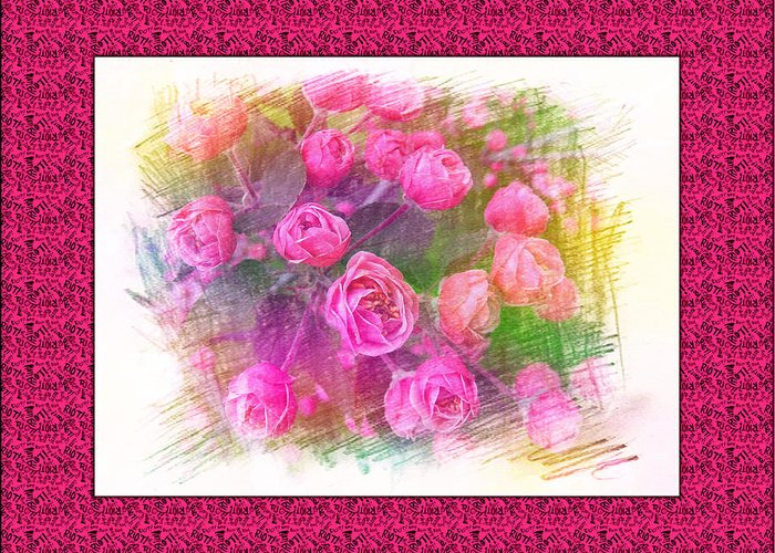 Floral Greeting Card featuring the painting Pink Roses by Xueyin Chen