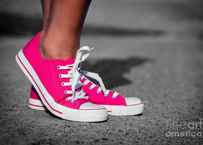 Girl Greeting Card featuring the photograph Pink Sneakers by Michal Bednarek