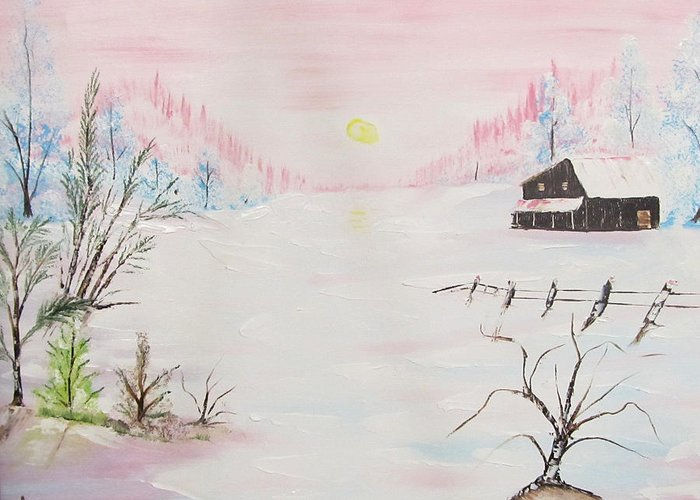 Pink Greeting Card featuring the painting Pink Sunset by Larry Marano