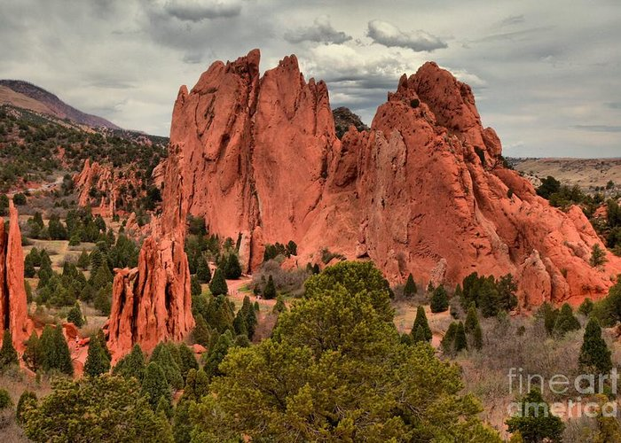 Garden Of The Gods Greeting Card featuring the photograph Pink Towers Of The Gods by Adam Jewell