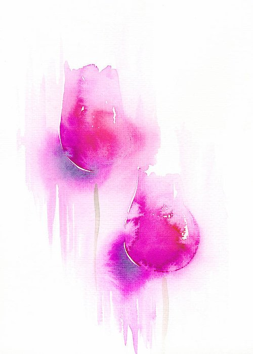 Tulips Greeting Card featuring the painting Pink Tulips by Christina Rahm Galanis