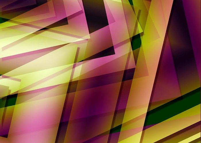 Art Greeting Card featuring the digital art Pink Yellow And Green Geometry by Mario Perez