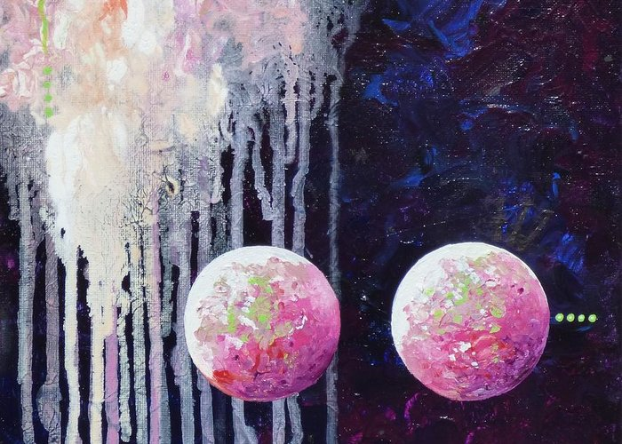 Abstract Sphere Ball Planet Star Universe Orb Pink Cloud Drip Greeting Card featuring the painting Pinkies by Dianne Margaret Evans