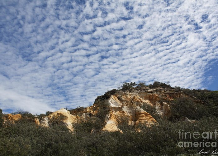 Sand Greeting Card featuring the photograph Pinnacles Of Fraser Island by Linda Lees