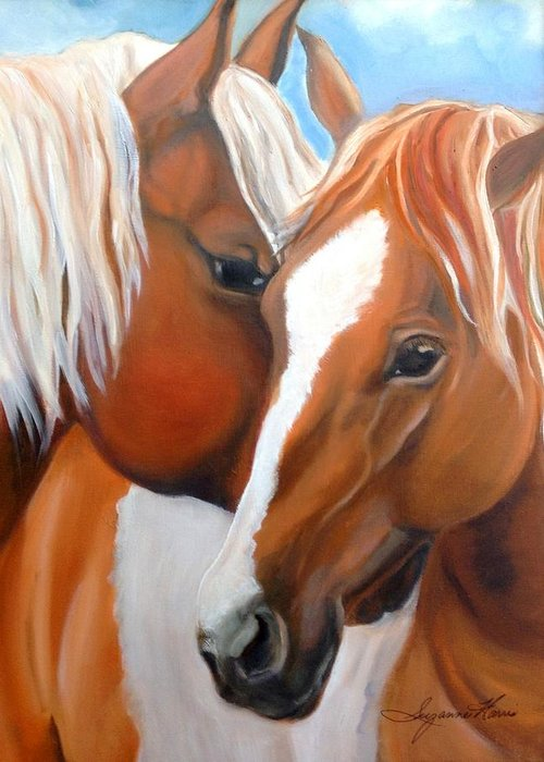 Horse Greeting Card featuring the painting Pinto Love by Suzanne Norgress Harris