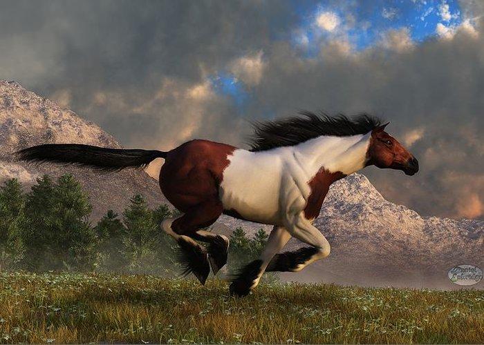 Hidalgo Greeting Card featuring the digital art Pinto Mustang Galloping by Daniel Eskridge