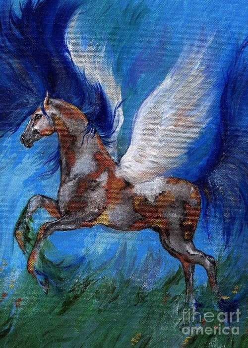 Fairytale Greeting Card featuring the painting Pinto Pegasus With Blue Mane by Angel Ciesniarska