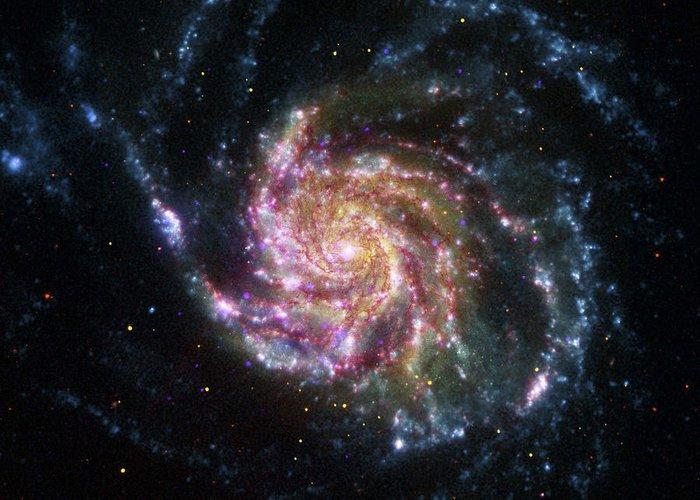 3scape Photos Greeting Card featuring the photograph Pinwheel Galaxy Rainbow by Adam Romanowicz