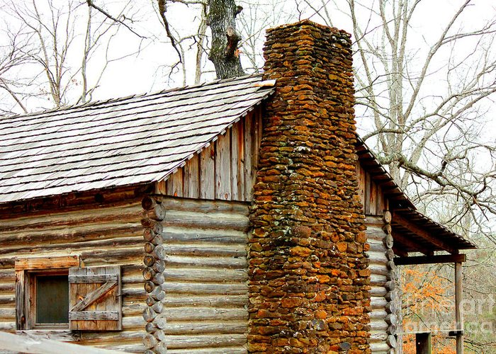 Rock Chimneys Greeting Card featuring the photograph Pioneer Log Cabin Chimney by Kathy White