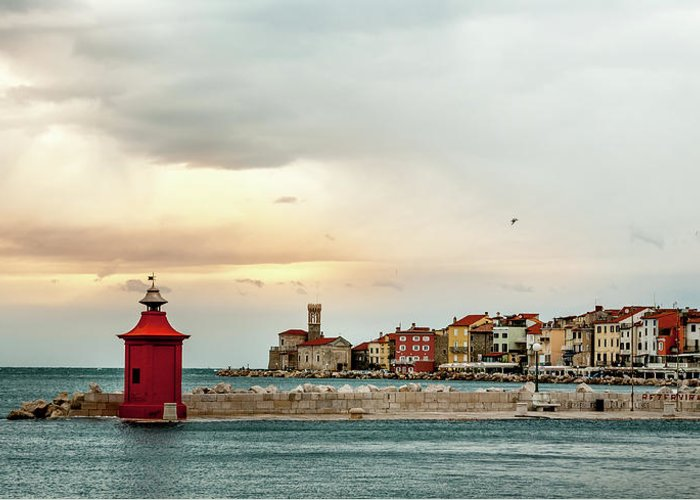 Tranquility Greeting Card featuring the photograph Piran Slovenia by Digital Image