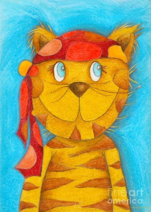 Pirate Greeting Card featuring the painting Pirate Cat by Sonja Mengkowski