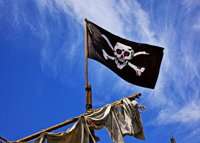 Pirate Flag Skull Banner Piracy Scull Robbers Terror Terrorist F Greeting Card featuring the photograph Pirate Flag On Ships Mast by Garry Gay