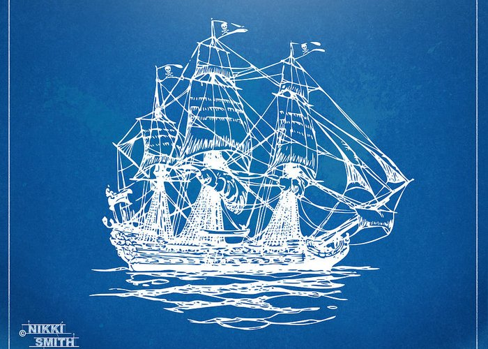 Pirate Ship Greeting Card featuring the drawing Pirate Ship Blueprint Artwork by Nikki Marie Smith