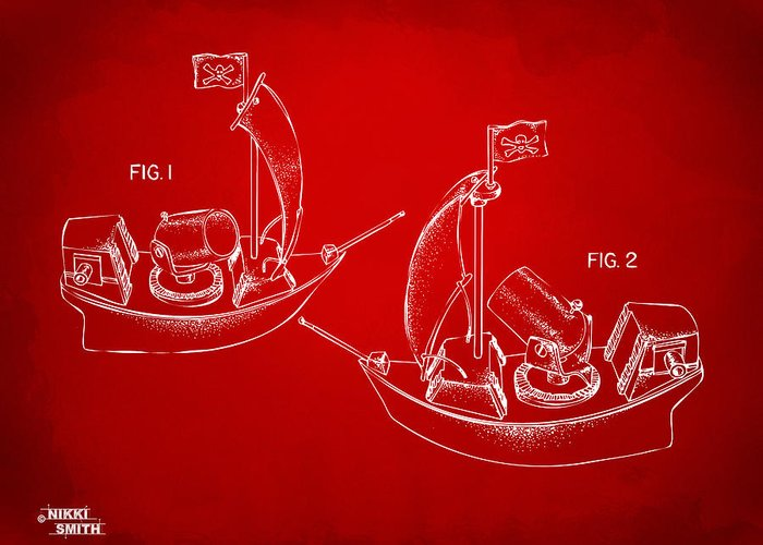 Pirate Greeting Card featuring the drawing Pirate Ship Patent Artwork - Red by Nikki Marie Smith