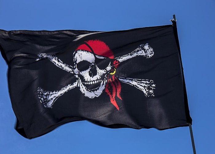 Pirate Flag Skull Banner Piracy Scull Robbers Terror Terrorist F Greeting Card featuring the photograph Pirate Skull Flag With Red Scarf by Garry Gay