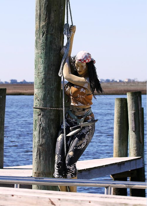 Pirate Greeting Card featuring the photograph Pirate Wench by David Byron Keener
