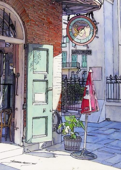 New Orleans Greeting Card featuring the painting Pirates Alley 161 by John Boles