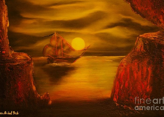 Cave Greeting Card featuring the painting Pirates Cave- Original Sold - Buy Giclee Print Nr 27 Of Limited Edition Of 40 Prints by Eddie Michael Beck