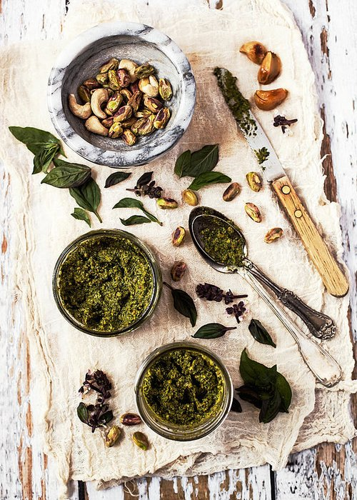 San Francisco Greeting Card featuring the photograph Pistachio Pesto With Mortar, Jars And by One Girl In The Kitchen