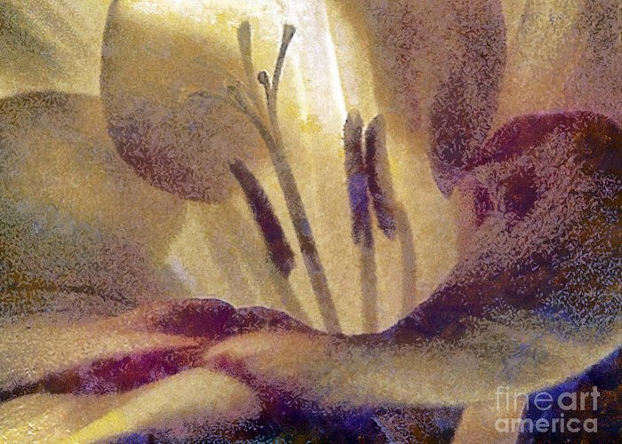 Pistil Greeting Card featuring the painting Pistils by Odon Czintos