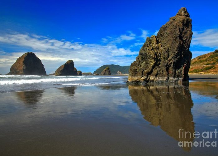 Meyers Creek Greeting Card featuring the photograph Pistol River Sea Stacks by Adam Jewell