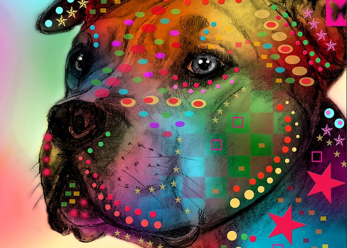 Pop Art Greeting Card featuring the painting Pit Bull by Mark Ashkenazi