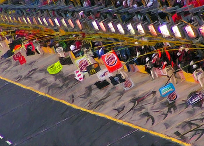 Nascar Greeting Card featuring the painting Pit Road by Kenneth Krolikowski
