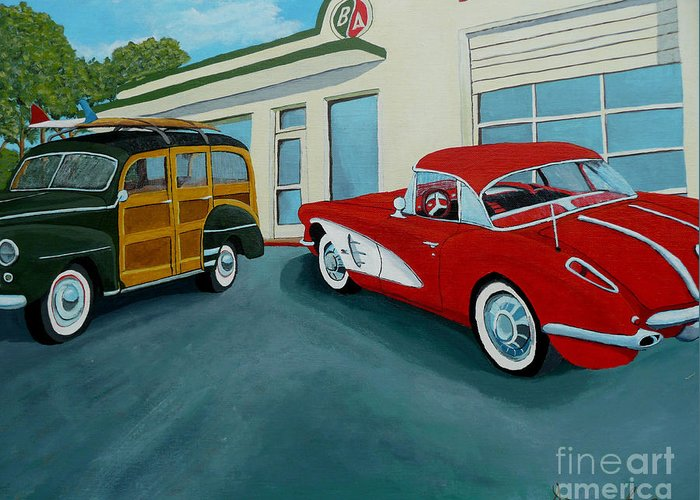 British American Greeting Card featuring the painting Pit Stop by Anthony Dunphy