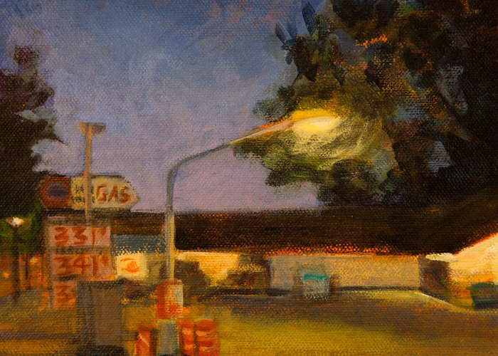 Gas Station Greeting Card featuring the painting Pit Stop by Athena Mantle