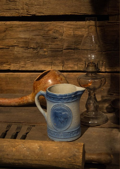 Pitcher Greeting Card featuring the photograph Pitcher Cup And Lamp by Douglas Barnett