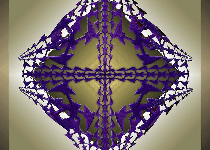 Geometric Abstract Greeting Card featuring the digital art Pitchforks 4 by Warren Furman