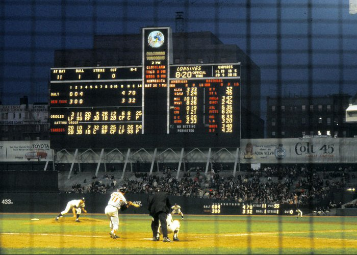 Marvin Newman Greeting Card featuring the photograph Pitching To A Hitter In Old Yankee Stadium by Retro Images Archive