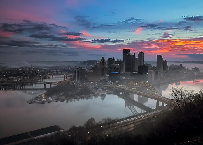 Pittsburgh Greeting Card featuring the photograph Pittsburgh January Thaw by Jennifer Grover