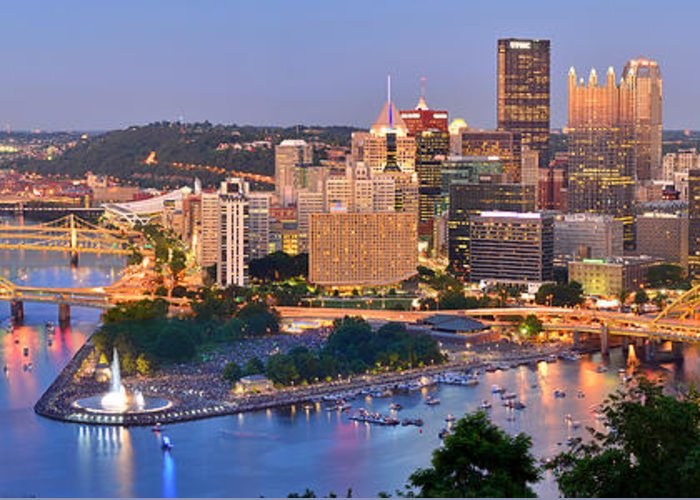 Pittsburgh Skyline Greeting Card featuring the photograph Pittsburgh Pennsylvania Skyline At Dusk Sunset Panorama by Jon Holiday