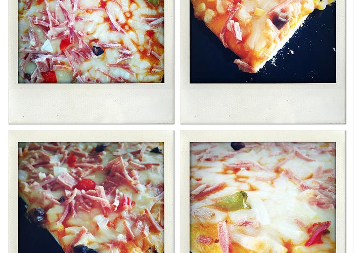 Snack Greeting Card featuring the photograph Pizza by Les Cunliffe