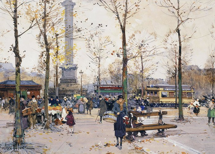 Jacques Lieven Greeting Card featuring the painting Place De La Bastille Paris by Eugene Galien-Laloue