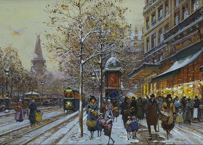 Place De La Republique Greeting Card featuring the painting Place De La Republique Paris by Eugene Galien-Laloue