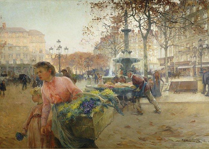 1900s Greeting Card featuring the painting Place Du Theatre Francais Paris by Eugene Galien-Laloue