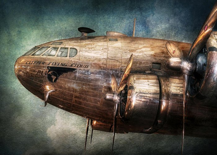 Pilot Greeting Card featuring the photograph Plane - Pilot - The Flying Cloud by Mike Savad